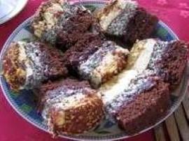 Ciasto:  Białka ubijamy na sztywno i łączymy z innymi składnikami ciasta. Gotowe dzielimy na 3 części do 1 dodajemy kakao , do...